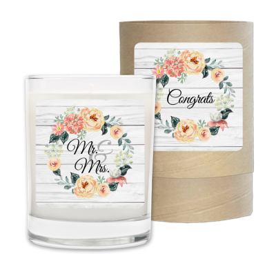 Congrats Wreath Wedding Candle